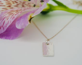 Handmade Hammered Fine & Sterling Silver Pendant Necklace