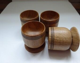 4 Oak egg cups