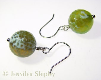 Green Agate Dangle Earrings: Healing Yellow & Green Faceted Gemstone Spheres Wire-Wrapped with Nickel-Free, Hypoallergenic Copper or Silver