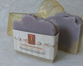 Organic Lavender Soap with Oatmeal, Handmade Natural bar soaps