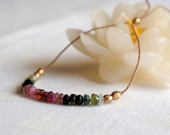 Watermelon tourmaline silk bracelet made in Italy | minimalist jewelry |dainty layering bracelet | friendship bracelet | october birthstone