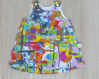 """simple cotton dress, printed """"paint stains"""""""