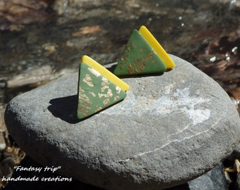 Polymer clay earrings ,geometrical,triangle shape with gold foil leaf
