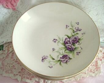 Vintage Wedding Soup Bowls Purple Pansy Floral Shabby Cottage Chic Vintage Bridal Shower Set of 4