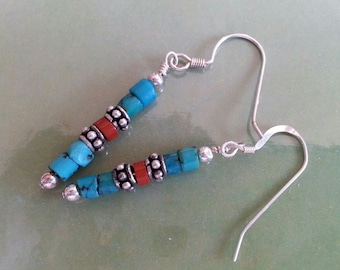 Turquoise Heishe Earrings Sterling Silver and Red Jasper