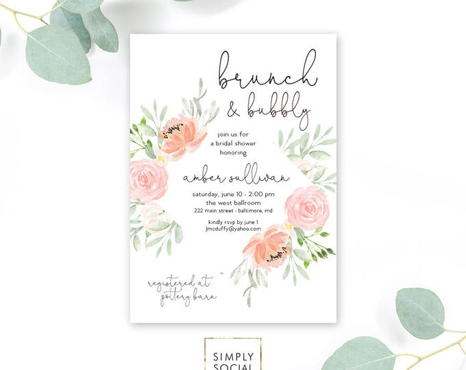 Pink Coral Floral Brunch and Bubbly Bridal Shower Invitation - Garden Shower - Peony Roses Blush Invitation Watercolor Printable