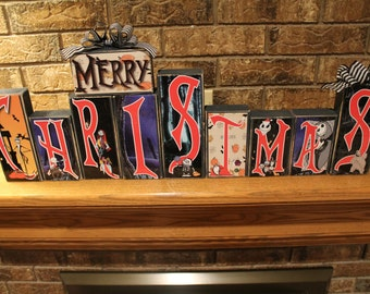 Nightmare before Christmas reversable holiday decor.One side has Merry Christmas reverse side has Happy Halloween. Great for eclectic person
