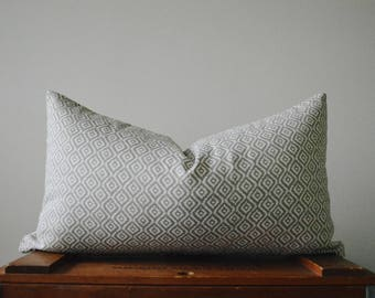 THE AIRDRIE 18x10 Gray and White Diamond Lumbar Pillow Cover