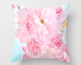 """Photo pillow, """"Soft Blue Sky with Pink Peonies"""" Decorative Throw Pillow cover, Cushion, Various Sizes, indoor, outdoor, flower, petals,happy"""