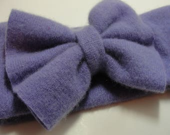 Upcycled Lavender Cashmere Earwarmer Headband with Bow