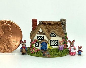 Miniature Cottage House Bunny Rabbit Storybook Holly Allen