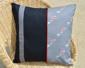 Cushion cover I love you heart love black gray red