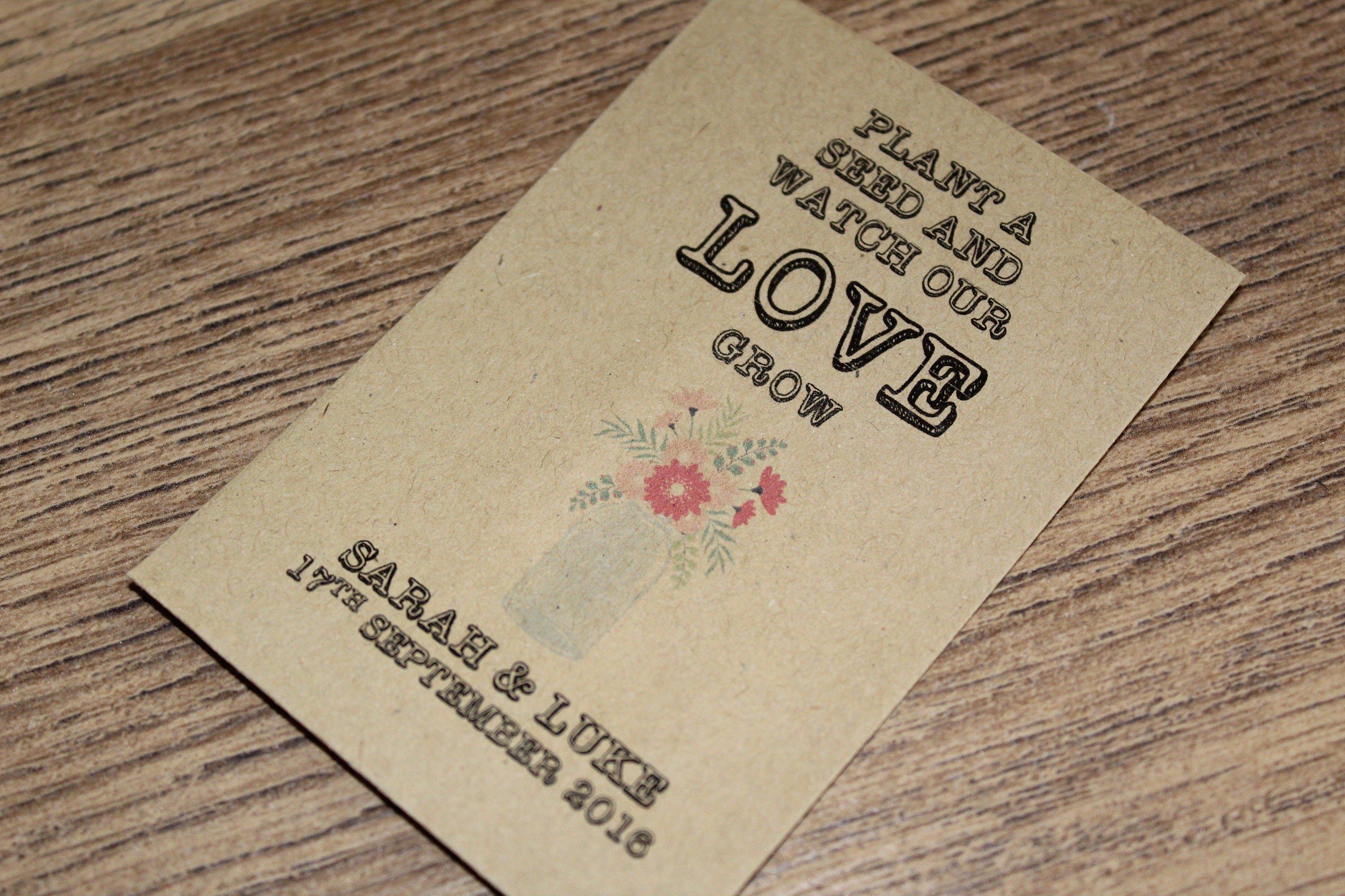 Personalised Seed Packets Envelopes Wedding Favours Vintage