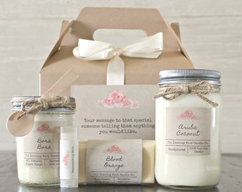 Candle & Spa Gift Set / Gift for Her / Personalized Gift Set / Birthday Gift Set / Bath Gift Basket /Hostess Gift Set / Teacher Gift