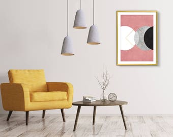 Abstract art, Wall art, Wall Art Print, Bedroom wall art, Living room art, Minimalist art, Geometric print, Pink and gold print, Printable