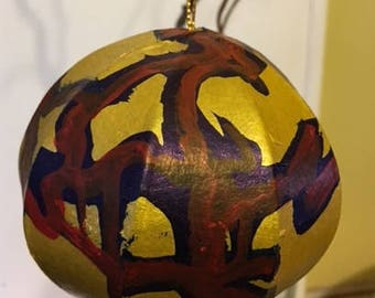 SALE! Two Dollars Off Original Price: Hand painted 5 inch paper mache tee ornament.