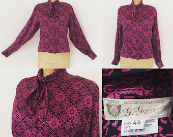 Gucci 80's Tie Neck Silk Blouse...One of a Kind Vintage!