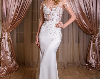 Nelda wedding dress with lace and simple skirt