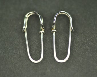 solid 14k gold mini SAFETY PIN earrings with single loops - yellow, white or rose gold hoop earrings