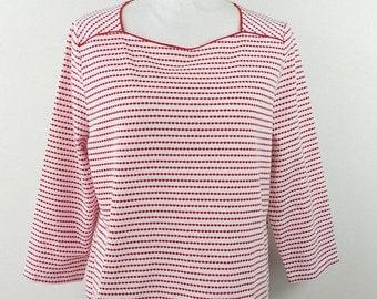 30% SPRING SALE Vintage 1990s 90s Kim Rogers Red White Polka Striped Dot Print Geometric Print Short Sleeve Shirt Top Blouse Sz Large
