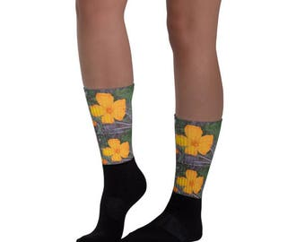Sunshine Bloom Black foot socks