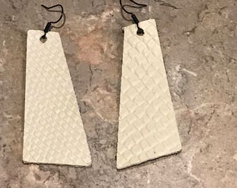 Leather Earrings, Cream, White, Light Weight