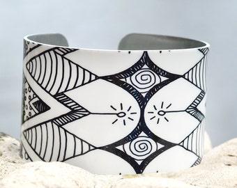 Black and White Doodle Cuff, Geometric Pattern Cuff, Aztec Cuff, Adjustable Metal Cuff, Custom Printed Cuff Bracelet, Doodle Art Cuff