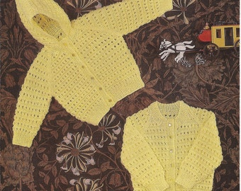 """PDF Knitting Pattern Baby Hooded Jacket and Cardigan to fit sizes 19-21"""" (Y91)"""