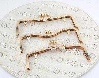 Light Gold Bling Bling Kisslock Frame Hoop w/ Rings for Bag Purse, 20.5 cm/ 23.5 cm, 1 PCS