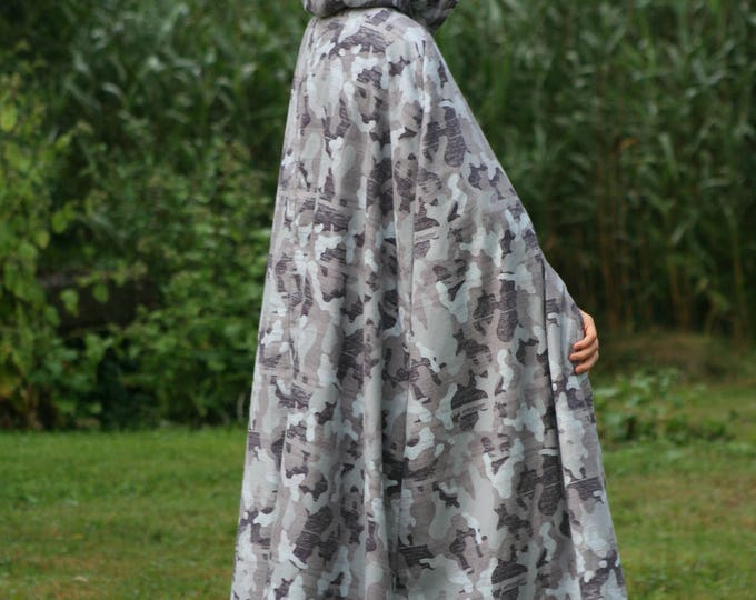 Gray, White Camouflage Cloak, Flannel