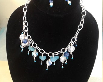 """20"""" inch adjustable  necklace silver colored metal with tourquoise and blue beads"""
