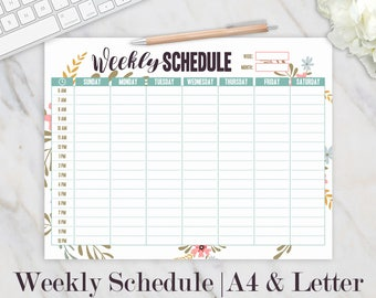 Weekly Schedule Printable, Hourly Planner, Weekly Organizer, Weekly Printable, Daily Schedule, Homeschool Planner, Family Planner, A4 Letter
