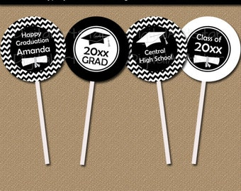Black and White Graduation Cupcake Toppers, Graduation Cupcake Picks, Graduation Party Ideas DIY, Graduation Party Supply, DIY Grad Party G3