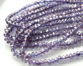 Amethyst Luster 3mm Faceted Rondelle Czech Glass Beads  50