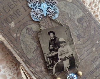 Two Ladies Tintype Photo Pendant