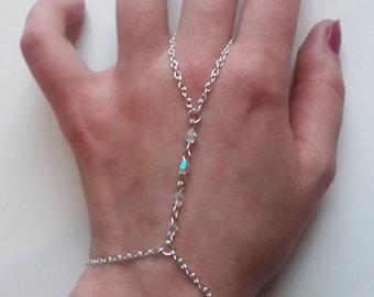 Clear Ab Crystal Bracelet , Crystal Slave Bracelet , Slave Chain , Clear Bead Bracelet , Handmade Jewelry , Handmade Gift , Bridal , Tribal
