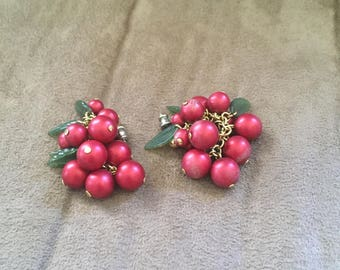 Vintage Goldtone Red Beaded with Green Leaf Dangle Design Earrings, 2'' Long
