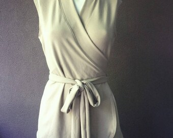 Sleeveless wrap shirt, organic cotton