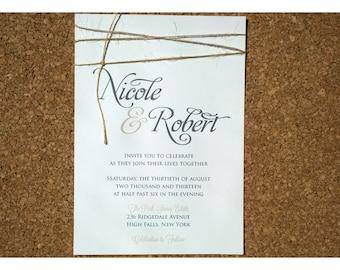 Romantic Script and Twine Wedding Invitation - Simple Knot with Script Wedding Invites - Simple and Elegant Calligraphy Wedding Invitations