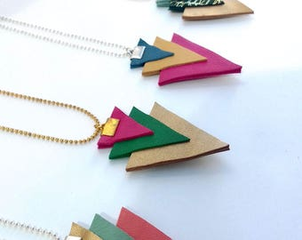 Leather minimalist triangle necklace