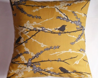 Handmade Throw Pillow Cover, Birds & Branches Accent Pillow Cover, Yellow Floral Pillow Cover, Sparrows in Vintage Yellow Cushion Cover