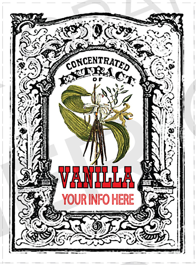 you add text homemade vanilla extract labels vintage vanilla extract