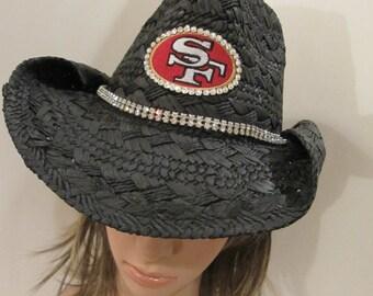 49er's Hat, SF Hat, Cowboy Hat, Black, Cowboy Hat, Rhinestone Hat, Bling Hat,  Womens Hat, Bling Hat, Cowboy Hat