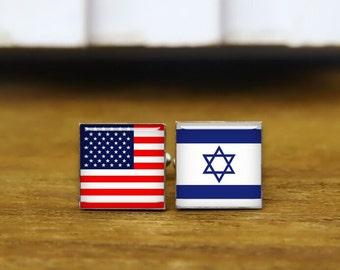 israeli flag cuff link, custom national flag cufflinks, custom country flag cuff links, round or square cufflinks & tie clips, usa cufflinks
