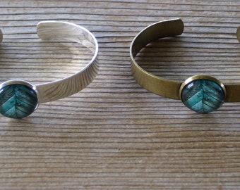Barnwood Bracelet, Blue Barnwood Cuff Bracelet, Blue and Silver Bracelet, Rustic Wood Art Image, Brass Cuff Bracelet, Rustic Jewelry