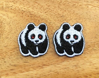 Set 2 pcs. Panda - Animal Print New Sew / Iron On Patch Embroidered Applique