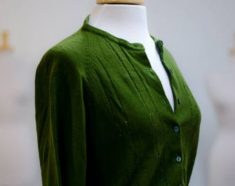 vintage emerald green button up cardigan sweater