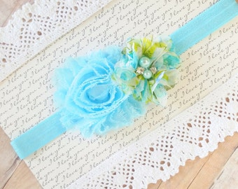 Aqua Baby Headband, Headbnads For Infants, Flower Headbands For Babies, Floral Headband, Teen Headband, Kids Hair Bows, Newborn Headband
