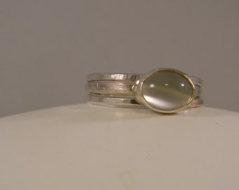 Set of 3 Silver Stack Rings, Moonstone Ring,  Stackable Rings, Stacking Rings,Stacked Rings, Moonstone Rings,Silver Stacking Rings