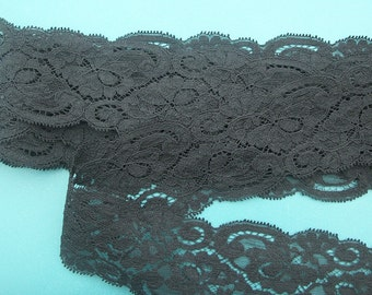BLACK LACE  Vintage Galloon Raschel 10 yards ...  2-1/2 inch-wide 3 inch-pattern-repeat ... made in usa